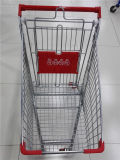 Chariot à quatre roues à achats de supermarché en métal de qualité