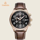 Timeseaメンズスポーツの革水晶腕時計72252