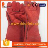 Красная перчатка Welder Split кожи, CE пропуска (DLW619)