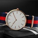 Relógio ultra fino da cinta de couro de classe elevada do relógio da liga do OEM