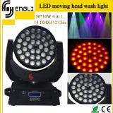 indicatore luminoso di lavaggio di effetto della testa mobile di 36*10W RGBW 4in1 LED con la funzione del fuoco dello zoom per la fase della discoteca del DJ