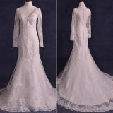 O laço real das fotos perla os vestidos de casamento longos da sereia da luva (TM-mm137)