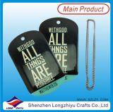 Étiquette de crabot en aluminium d'époxy d'impression de vente chaude avec la carte de papier d'emballage