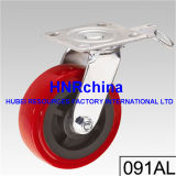 Roter PU-Schritt-industrielle Schwenker-Hochleistungsfußrolle