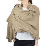 Fashion Acrylic Knit Winter女性ひだのスカーフの覆いのショール(YKY4158A)