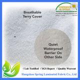 Bianco impermeabile 100% dell'unità di elaborazione del poliestere del tessuto della fodera per materassi