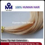 Prolongation de cheveux humains avec la prolongation nanoe de cheveux de bout