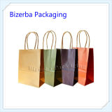 관례는 인쇄했다 면 손잡이 (BP-BC-0033)를 가진 호화스러운 Kraft 선물 종이 쇼핑 운반대 부대를