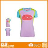 T-shirt à séchage rapide de panneau de mode de l'impression des femmes