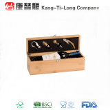Wine de bambú Box con Wine Tool Set