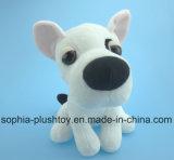 Cão enchido macio do branco do brinquedo do cão do luxuoso