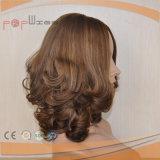 Luz do trabalho da parte superior da pele do cabelo humano - peruca dianteira amarrada do laço da cor mão cheia loura marrom