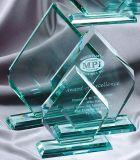 Récompense en verre de jade blanc clair, vente en gros en verre de trophée
