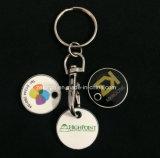 Correntes chaves personalizadas baratas da moeda do trole da impressão/suporte chave