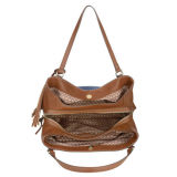 Tote Handbag Denim Bag新しい方法対照カラーPUの女性