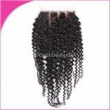 Cabelo Curly Kinky da extensão do cabelo humano da onda profunda malaia do fechamento