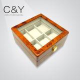 Do armazenamento de madeira do relógio do Burl da laca do revestimento do piano de 6 entalhes caixa de empacotamento