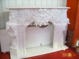 Естественный каменный белый камин Mareble с высеканным ангелом и цветками (SY-MF145)