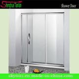 Acero inoxidable Fibra de vidrio baño puerta corredera de cristal de la ducha (TL-403)