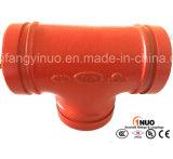 Тройник дуктильного утюга FM/UL Grooved равный для водоснабжения бой пожара