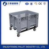 Caja de almacenamiento industrial HDPE grande paletas de plástico con tapa y rejilla de envío