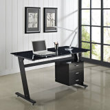 Z contemporâneo Shaped 3 Drawers Home Office Computer Desk Black ou White com Glass Top