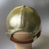 Boné de beisebol de couro da forma com a curvatura de couro do fechamento & do metal (LY133)