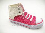 伸縮性があるレース(ET-LD160197K)が付いているピンクカラー女の子の余暇の靴
