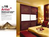 寝室(yg-003)のための高品質のMordenデザインPVCシャッターシリーズワードローブの引き戸