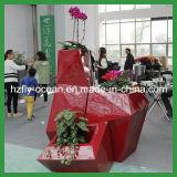 Grande potenciômetro de flor decorativo da planta da fibra de vidro