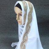 Шарф Hijab отвесного шифонового муслина шикарного типа длинний с Rhinestone