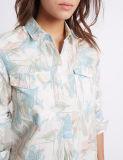 リネンブレンドの花柄の長い袖のワイシャツ