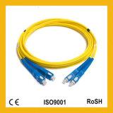 Cordon de connexion duplex uni-mode de fibre optique de Sc UPC OS1 9/125um