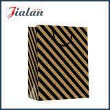 bolsa de papel barata impresa insignia negra de encargo de 157g Brown Kraft
