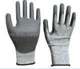 De grijze Handschoen van het Werk van de Veiligheid Hppe met Pu Met een laag bedekt Bestand Niveau 5 van de Besnoeiing