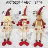 Bonhomme de neige Ornament-3asst. de corps de bille de toile de jute