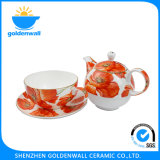 Eco-Friendly 300ml / 5.5 '' Fine Bone China Cup Tea Set