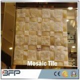 Плитки мозаики естественного каменного золота высокого качества бежевые мраморный