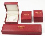 Contenitore di timbratura dorato di scatola di plastica del cuoio del Leatherette della pelle scamosciata (J37-E4)