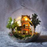Juguete de madera vendedor caliente 2017 del Dollhouse de Guangzhou DIY con el mejor regalo de la bola de cristal a la casa de árbol de Firend Noruega