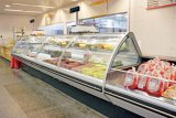 スーパーマーケットまたは肉屋のためのガラスドアのタイプ商業デリカテッセン肉表示スリラーの上の2017フリップ