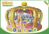 Os miúdos dos assentos do parque temático 12 montam o carrossel musical para a venda
