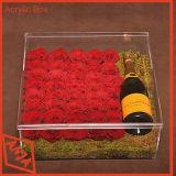Ясный акриловый стеллаж для выставки товаров устроителя бутылки вина