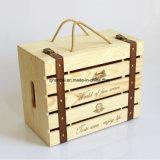 Изготовленный на заказ бутылка логоса 6 прикрепляя на петлях коробку крышки деревянную для красного вина 750ml