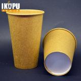 習慣によって印刷されるクラフト紙のコップの熱い茶コーヒーカップ