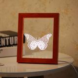 Decoração de madeira vermelha da luz da noite da borboleta do diodo emissor de luz do frame