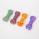 Zebra-Muster-Knochen-umweltfreundliches Vinylhundespielzeug-Haustier-quietschendes Spielzeug