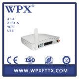 Modem portuário Ontário da fibra ONU Mdu Gpon de FTTH 4 com WiFi IPTV