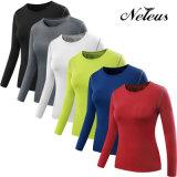 Neleusの女性の長い袖の体操の衣類の摩耗のTシャツNt0003