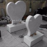 Lápide Shaped do coração de mármore branco italiano de Carrara
